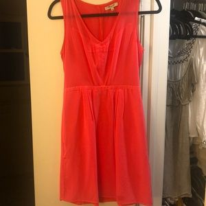 Madewell neon coral dress with pockets